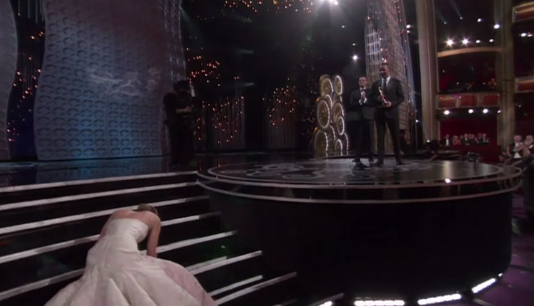 Jennifer Lawrence Falls Pt. 1