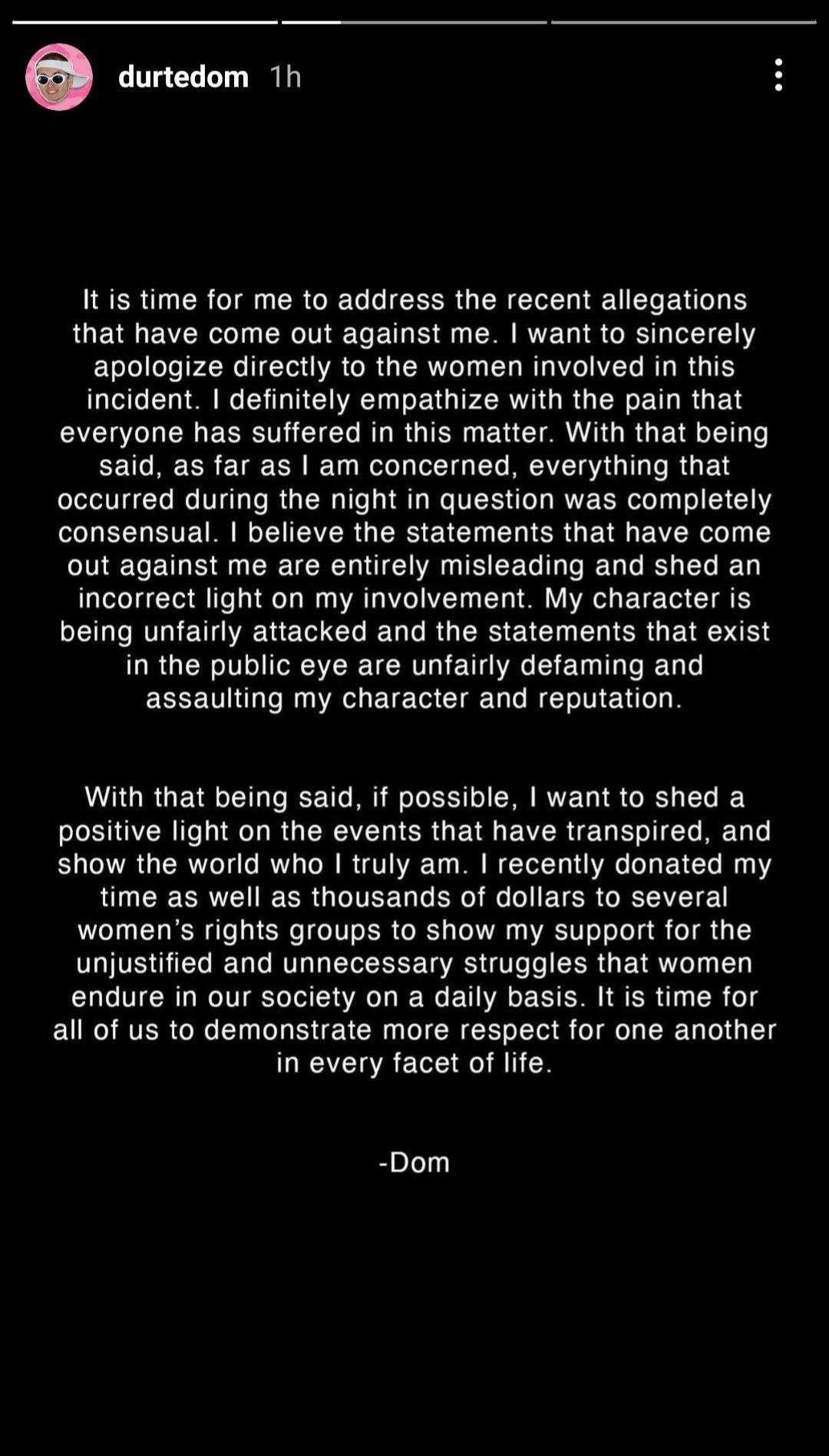 Durte Dom denies rape allegation on Instagram Story
