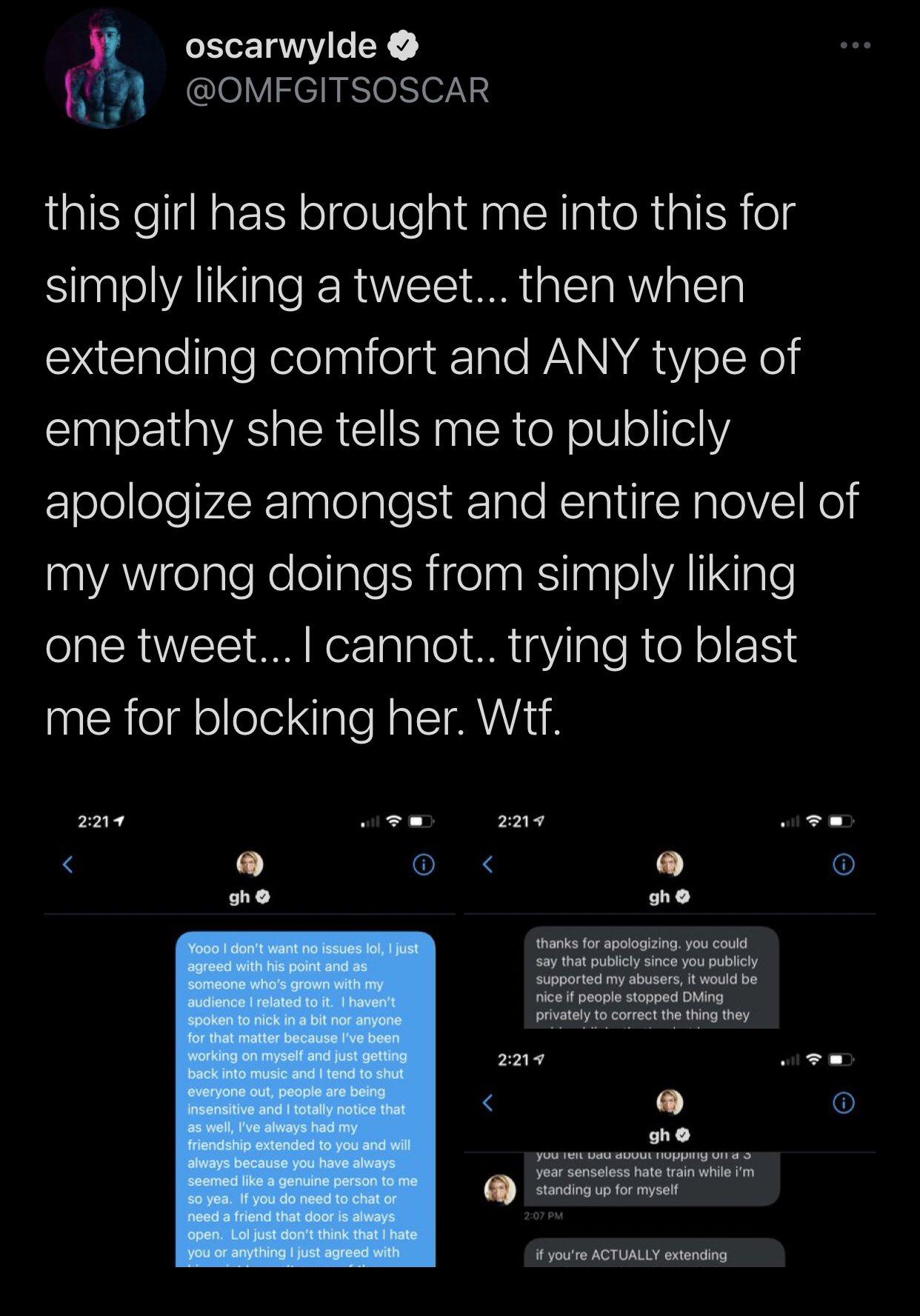 Oscar Wylde defends himself