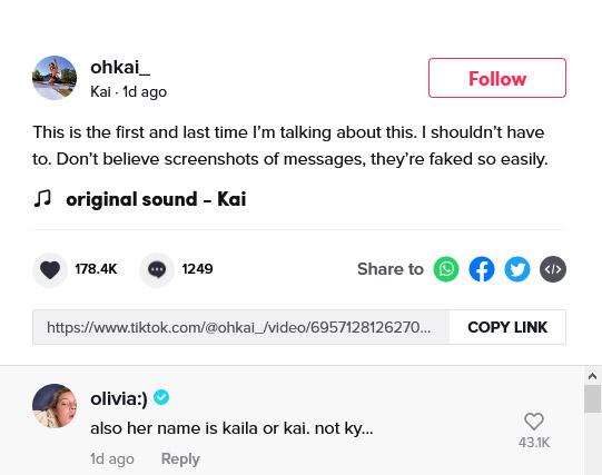 Olivia Ponton comments on Kai Novak TikTok relationship