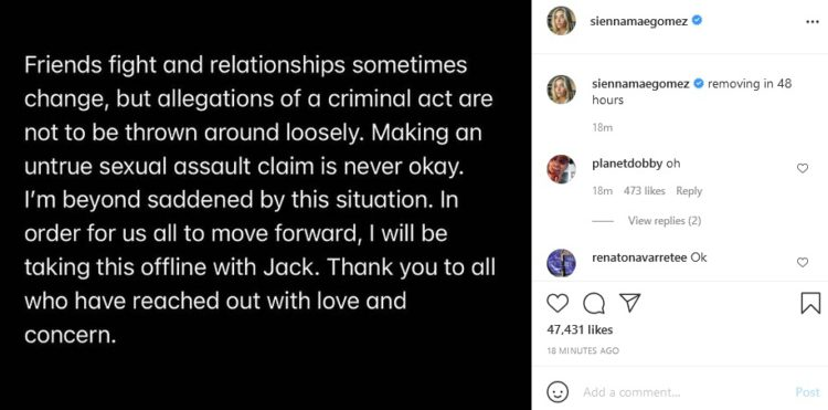 Sienna Mae Gomez denies sexual assault allegation