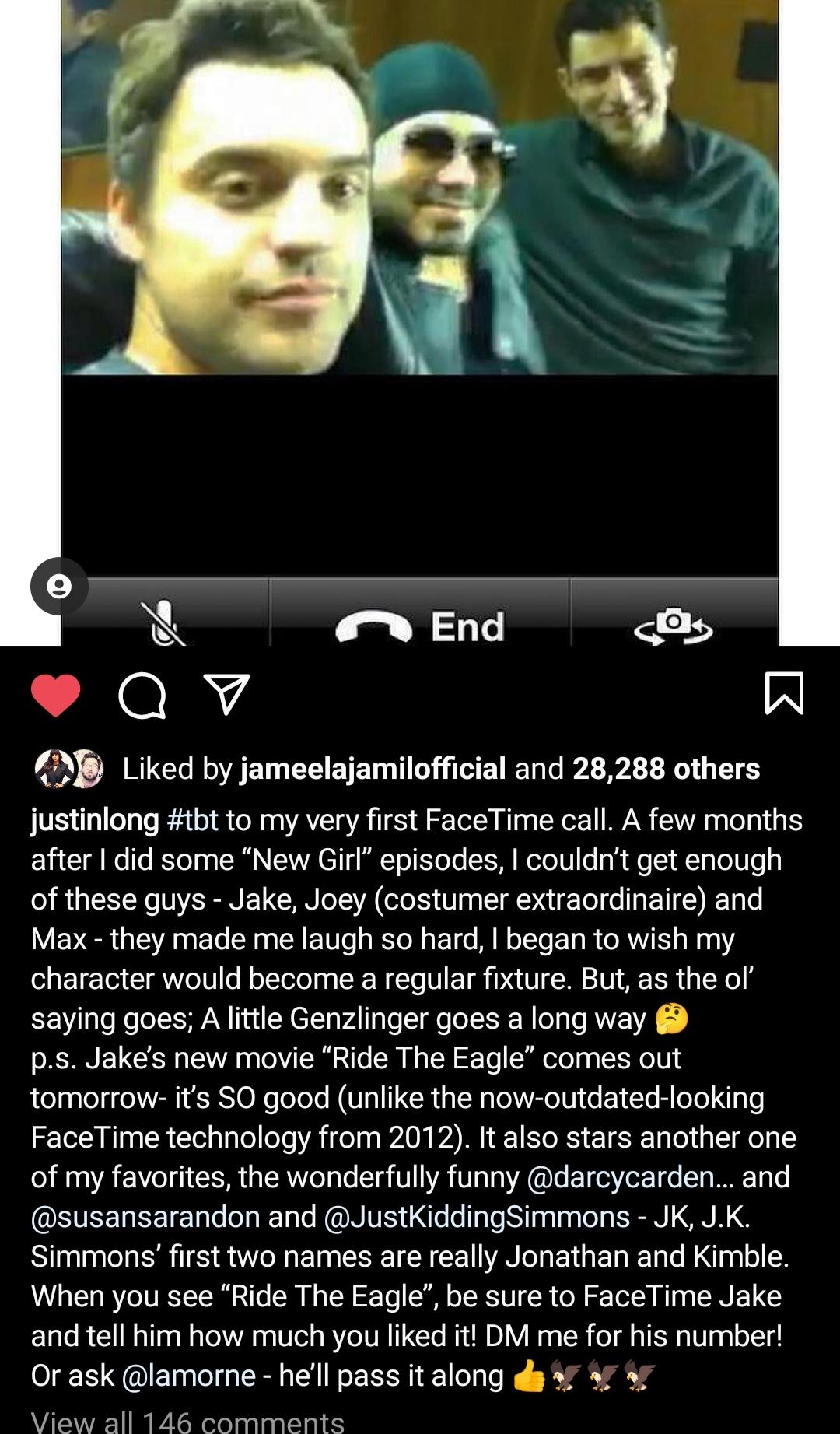Justin Long Instagram Jake Johnson Ride the Eagle